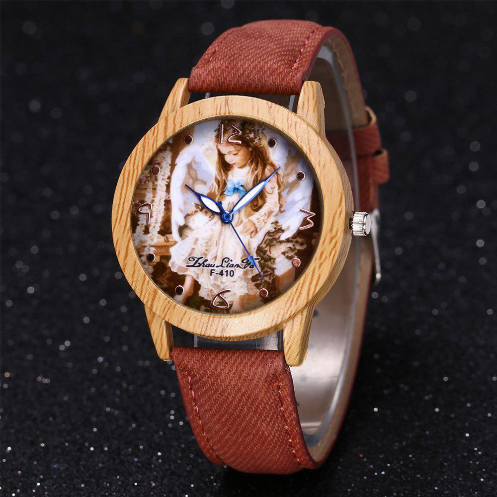 ZhouLianFa The New Trend of Casual Denim Canvas Angel Watch with Gift Box - COFFEE