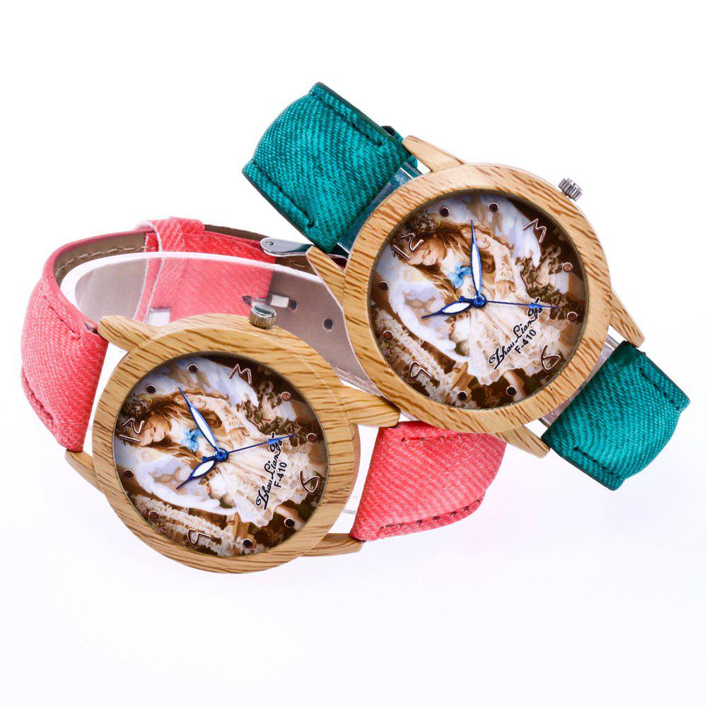ZhouLianFa The New Trend of Casual Denim Canvas Angel Watch with Gift Box - GREEN