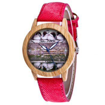 ZhouLianFa New Trend of Casual Denim Canvas Duckling Watch with Gift Box - RED RED