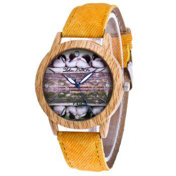 ZhouLianFa New Trend of Casual Denim Canvas Duckling Watch with Gift Box - YELLOW YELLOW