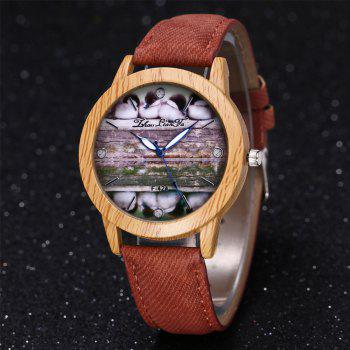 ZhouLianFa New Trend of Casual Denim Canvas Duckling Watch with Gift Box - COFFEE