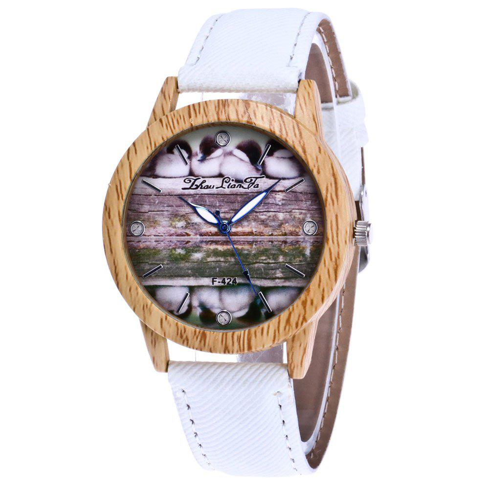 ZhouLianFa New Trend of Casual Denim Canvas Duckling Watch with Gift Box - WHITE