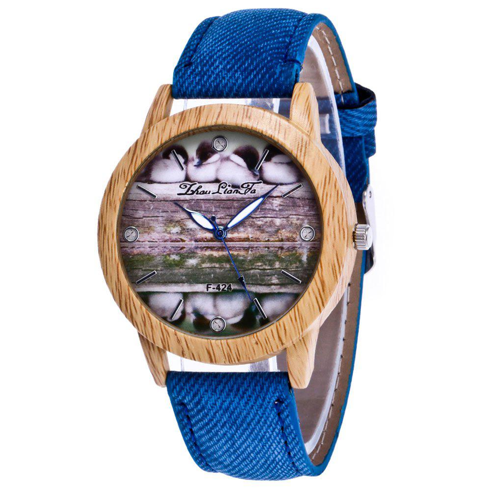 ZhouLianFa New Trend of Casual Denim Canvas Duckling Watch with Gift Box - BLUE