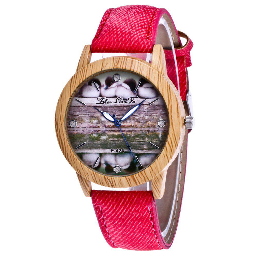 ZhouLianFa New Trend of Casual Denim Canvas Duckling Watch with Gift Box - RED