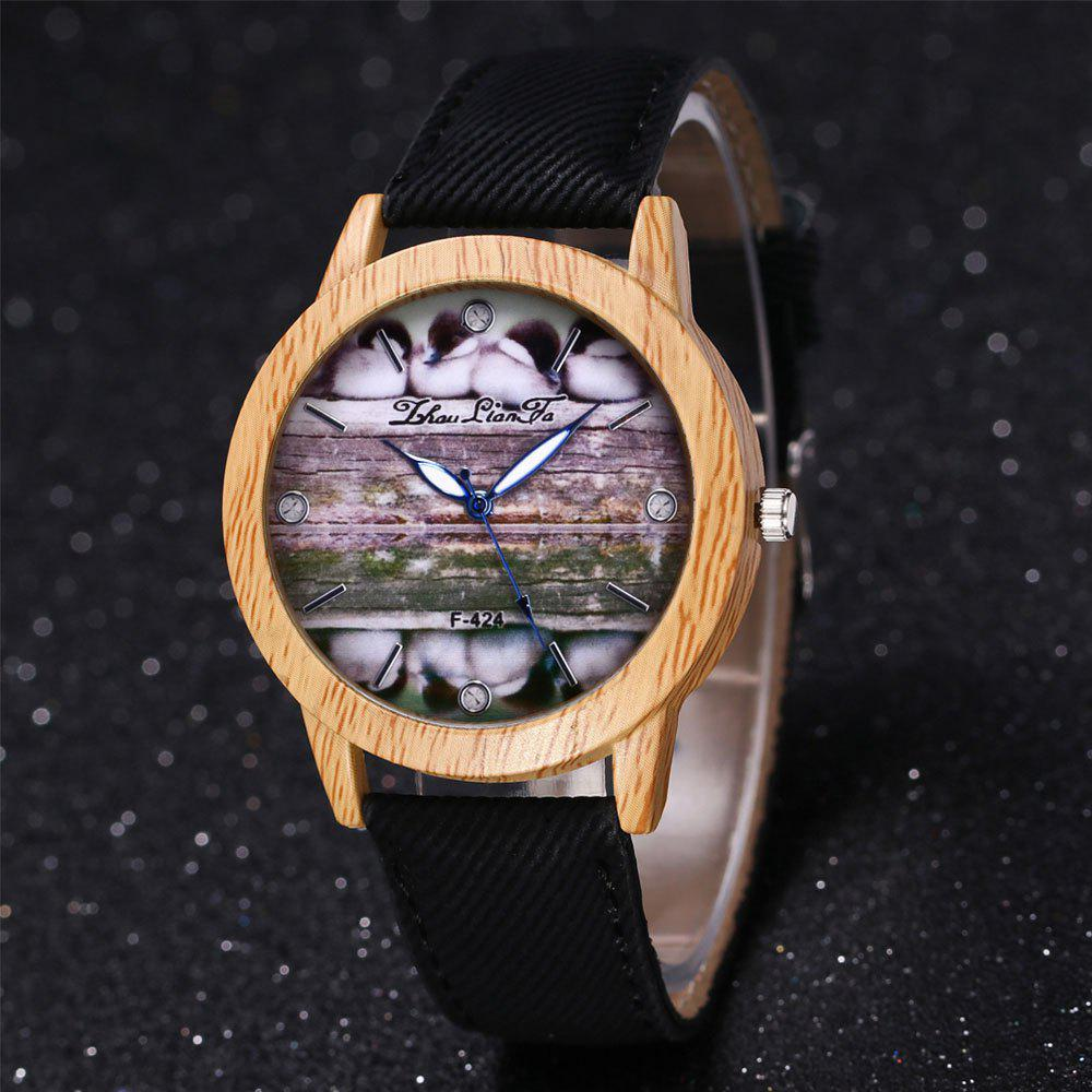 ZhouLianFa New Trend of Casual Denim Canvas Duckling Watch with Gift Box - BLACK