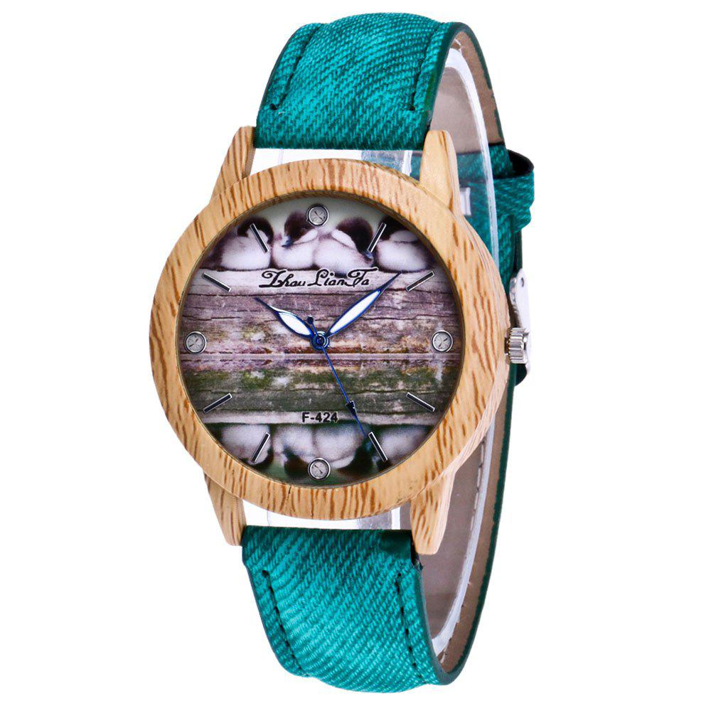 ZhouLianFa New Trend of Casual Denim Canvas Duckling Watch with Gift Box - GREEN