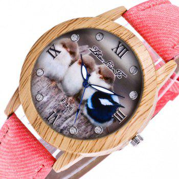 ZhouLianFa New Trend of Casual Cowboy Canvas Chick Figure Watch with Gift Box - PINK