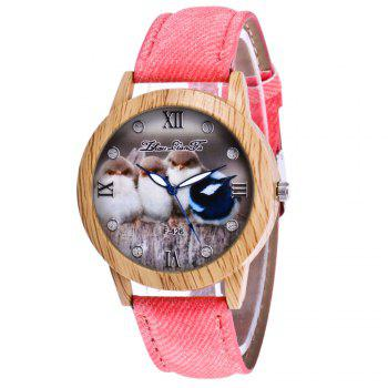ZhouLianFa New Trend of Casual Cowboy Canvas Chick Figure Watch with Gift Box - PINK PINK