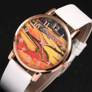 ZhouLianFa Pastoral Pattern Women'S Watch Crocodile Pattern Strap Casual Watch with Gift Box - WHITE