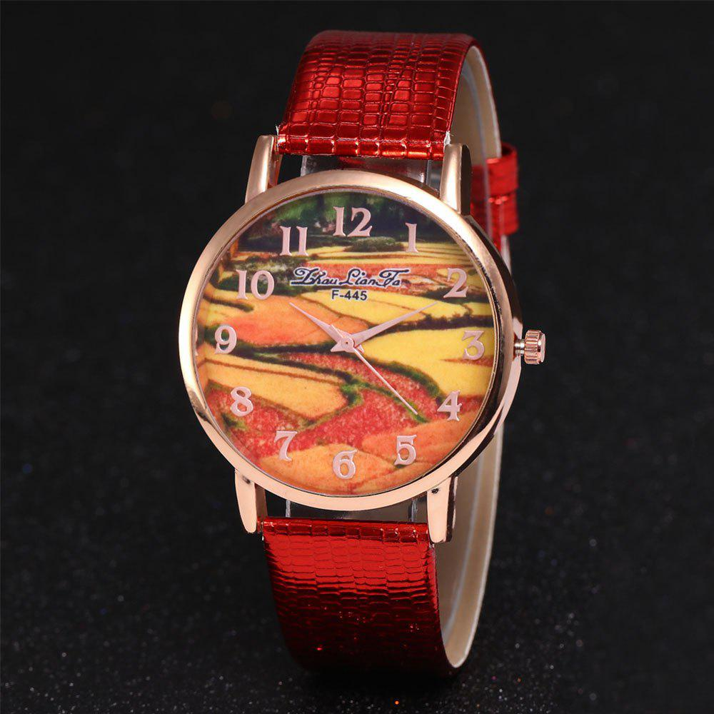 ZhouLianFa Pastoral Pattern Women'S Watch Crocodile Pattern Strap Casual Watch with Gift Box - RED