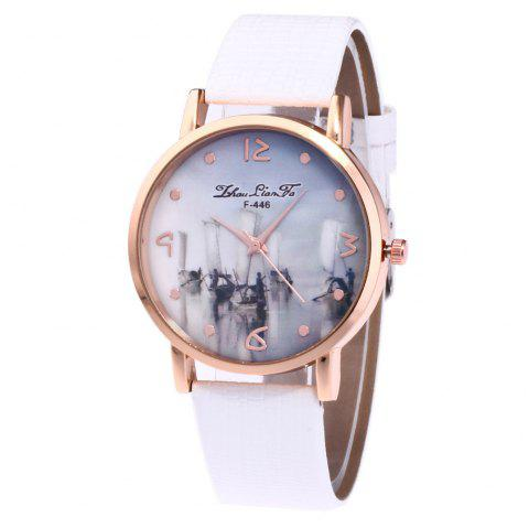 ZhouLianFa Fishing Patterns Women'S Watch Crocodile Pattern Strap Casual Watch with Gift Box - WHITE
