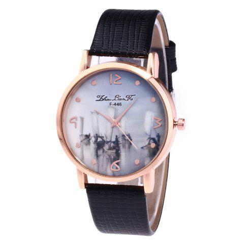 ZhouLianFa Fishing Patterns Women'S Watch Pattern Strap Casual Watch with Gift Box - BLACK