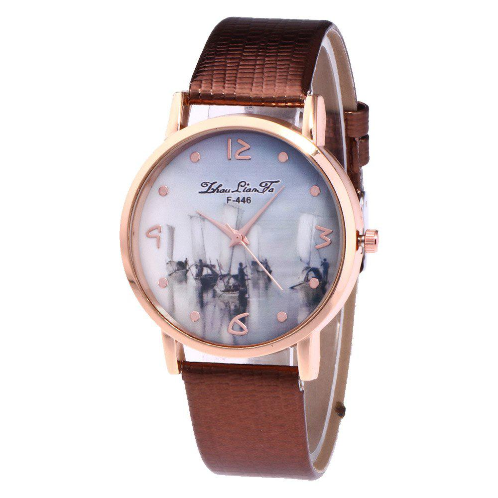ZhouLianFa Fishing Patterns Women'S Watch Crocodile Pattern Strap Casual Watch with Gift Box - COFFEE