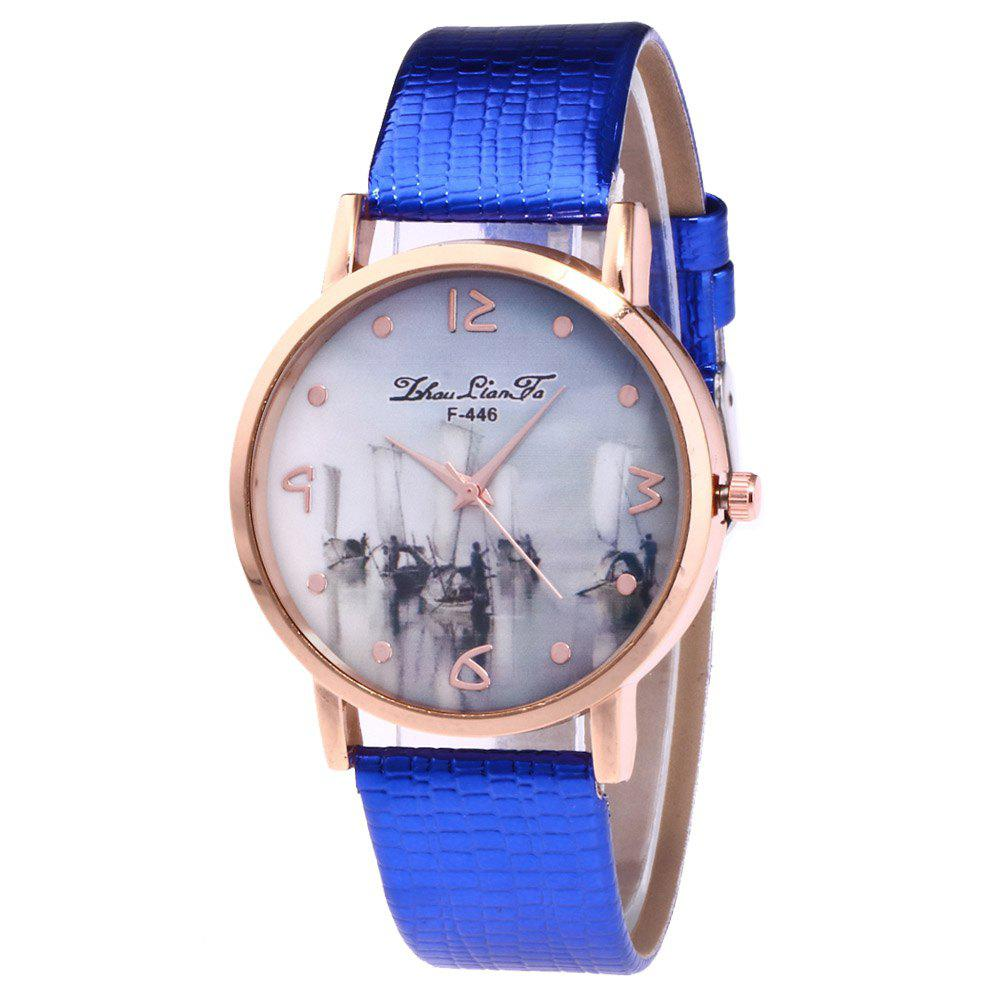 ZhouLianFa Fishing Patterns Women'S Watch Crocodile Pattern Strap Casual Watch with Gift Box - BLUE