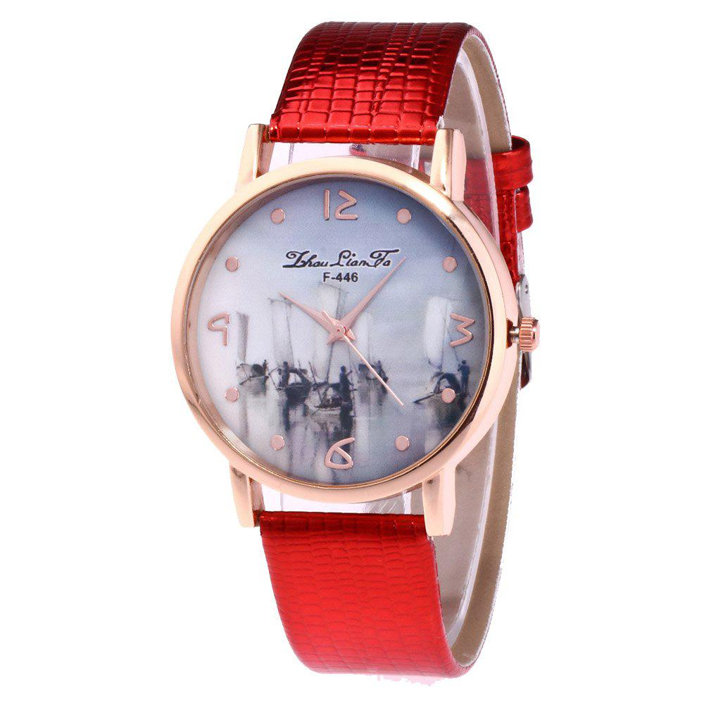 ZhouLianFa Fishing Patterns Women'S Watch Crocodile Pattern Strap Casual Watch with Gift Box - RED