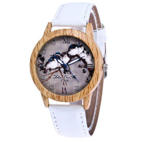 ZhouLianFa New Trend of Casual Cowboy Canvas Bird Figure Watch with Gift Box - WHITE