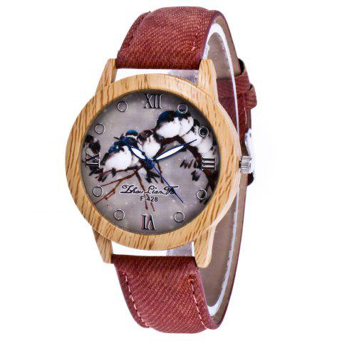 ZhouLianFa New Trend of Casual Cowboy Canvas Bird Figure Watch with Gift Box - COFFEE