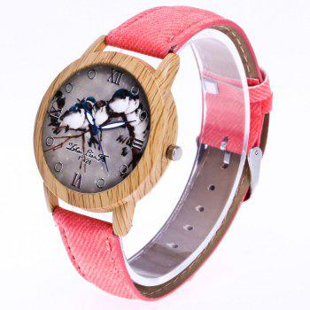 ZhouLianFa New Trend of Casual Cowboy Canvas Bird Figure Watch with Gift Box -  PINK