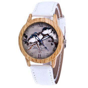 ZhouLianFa New Trend of Casual Cowboy Canvas Bird Figure Watch with Gift Box - WHITE WHITE