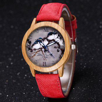 ZhouLianFa New Trend of Casual Cowboy Canvas Bird Figure Watch with Gift Box -  RED
