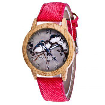 ZhouLianFa New Trend of Casual Cowboy Canvas Bird Figure Watch with Gift Box - RED RED