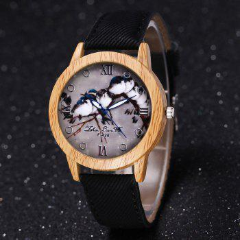 ZhouLianFa New Trend of Casual Cowboy Canvas Bird Figure Watch with Gift Box -  BLACK