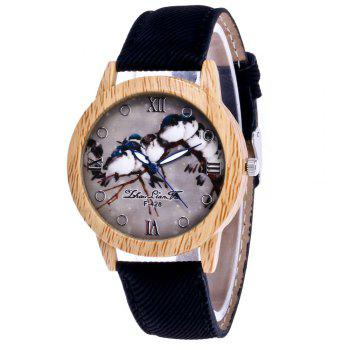 ZhouLianFa New Trend of Casual Cowboy Canvas Bird Figure Watch with Gift Box - BLACK BLACK