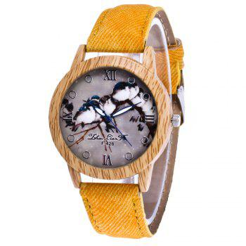 ZhouLianFa New Trend of Casual Cowboy Canvas Bird Figure Watch with Gift Box - YELLOW YELLOW
