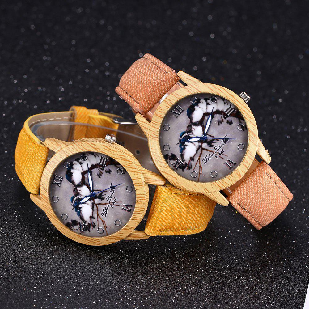 ZhouLianFa New Trend of Casual Cowboy Canvas Bird Figure Watch with Gift Box - YELLOW