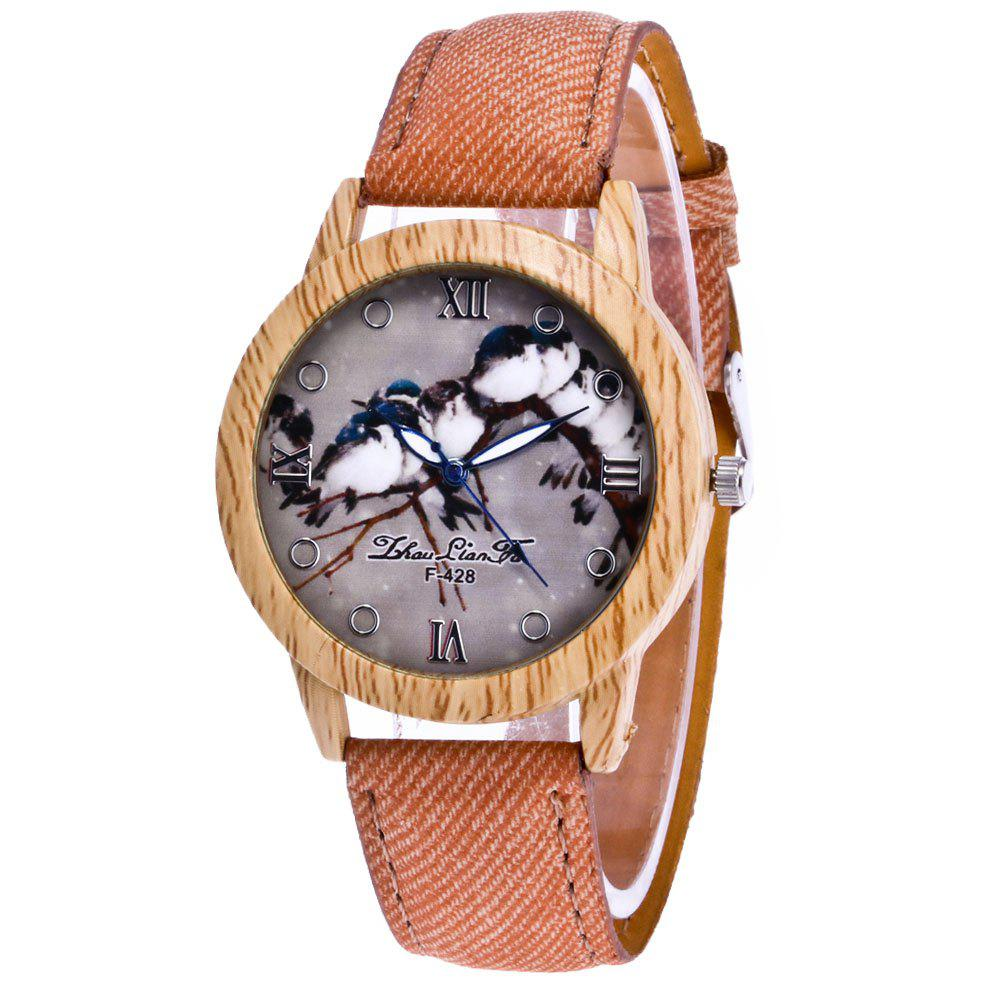 ZhouLianFa New Trend of Casual Cowboy Canvas Bird Figure Watch with Gift Box - BEIGE