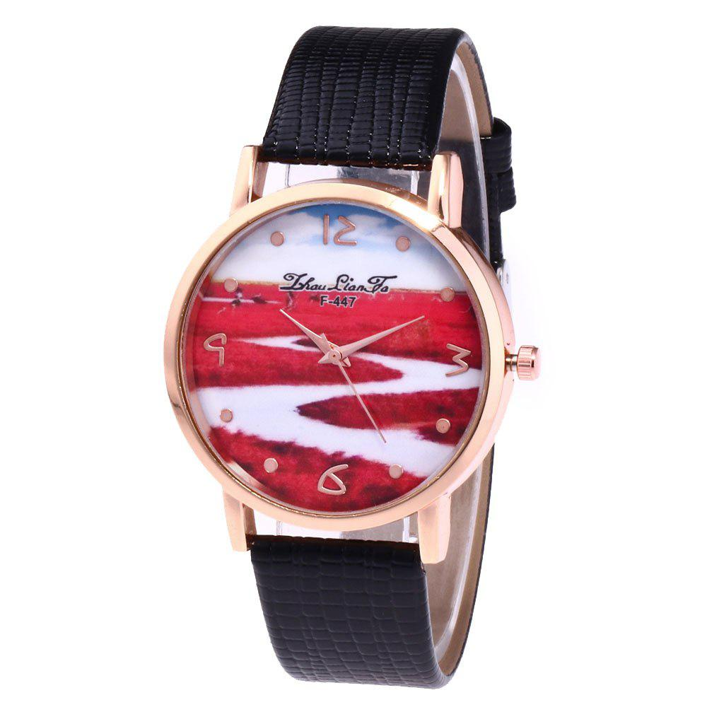 ZhouLianFa Red Landscape Pattern Women'S Watch Crocodile Pattern Strap Casual Watch with Gift Box - BLACK
