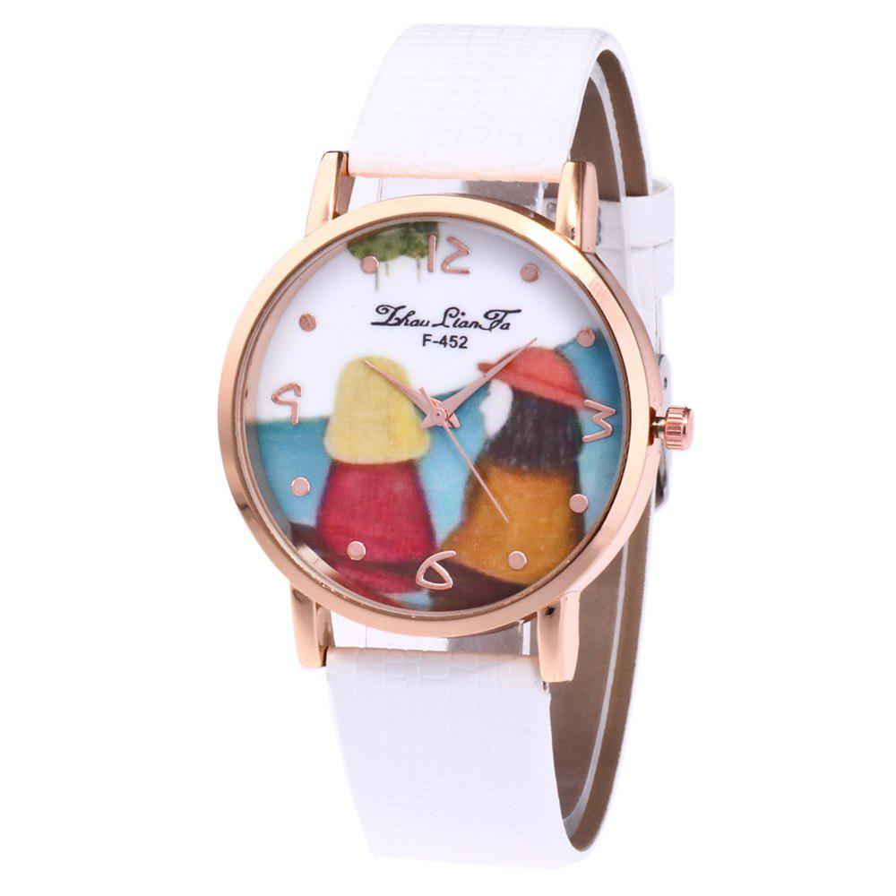 ZhouLianFa Cartoon Figure Pattern Women'S Watch Crocodile Pattern Strap Casual Watch with Gift Box - WHITE