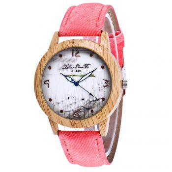 ZhouLianFa The New Trend of Casual Denim Canvas Watch with Gift Box - PINK PINK