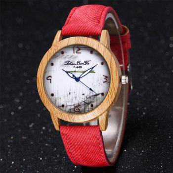 ZhouLianFa The New Trend of Casual Denim Canvas Watch with Gift Box -  RED
