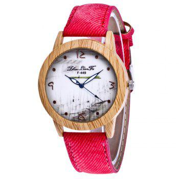 ZhouLianFa The New Trend of Casual Denim Canvas Watch with Gift Box - RED RED