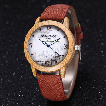 ZhouLianFa The New Trend of Casual Denim Canvas Watch with Gift Box -  COFFEE