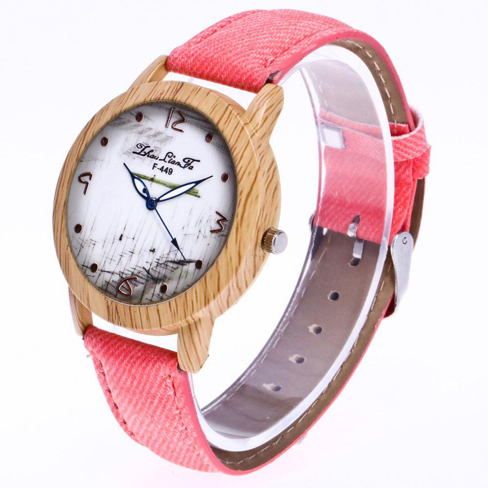 ZhouLianFa The New Trend of Casual Denim Canvas Watch with Gift Box - PINK