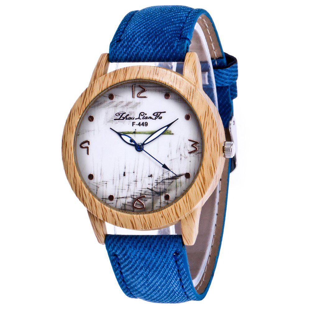 ZhouLianFa The New Trend of Casual Denim Canvas Watch with Gift Box - BLUE