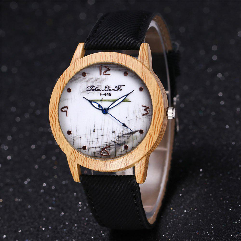 ZhouLianFa The New Trend of Casual Denim Canvas Watch with Gift Box - BLACK