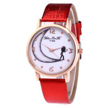 ZhouLianFa Half Moon Pattern Women'S Watch Crocodile Strap Watch with Gift Box - RED RED