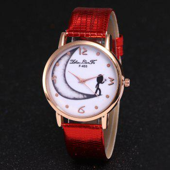 ZhouLianFa Half Moon Pattern Women'S Watch Crocodile Strap Watch with Gift Box -  RED