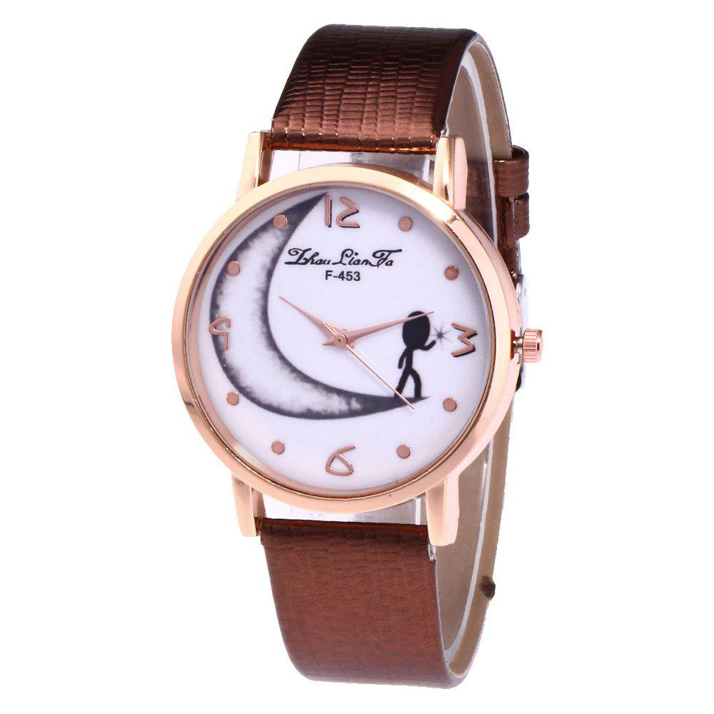 ZhouLianFa Half Moon Pattern Women'S Watch Crocodile Strap Watch with Gift Box - COFFEE