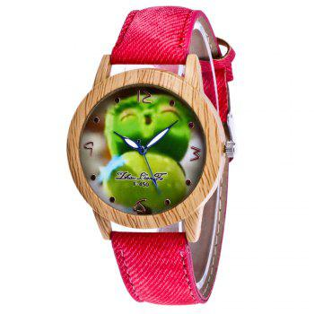 ZhouLianFa New Trend of Casual Cowboy Canvas Angry Birds Quartz Watch with Gift Box - RED RED