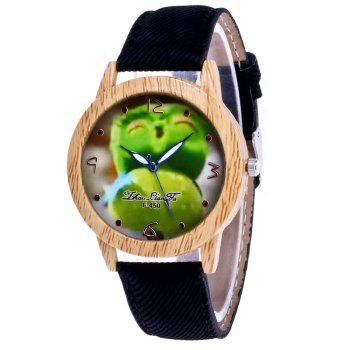 ZhouLianFa New Trend of Casual Cowboy Canvas Angry Birds Quartz Watch with Gift Box - BLACK BLACK