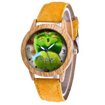 ZhouLianFa New Trend of Casual Cowboy Canvas Angry Birds Quartz Watch with Gift Box - YELLOW YELLOW