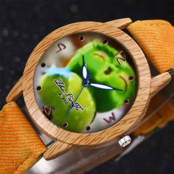 ZhouLianFa New Trend of Casual Cowboy Canvas Angry Birds Quartz Watch with Gift Box -  YELLOW