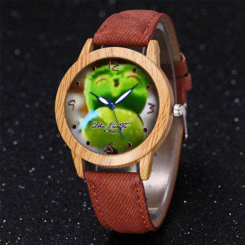 ZhouLianFa New Trend of Casual Cowboy Canvas Angry Birds Quartz Watch with Gift Box - COFFEE