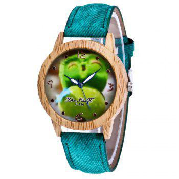ZhouLianFa New Trend of Casual Cowboy Canvas Angry Birds Quartz Watch with Gift Box - GREEN GREEN