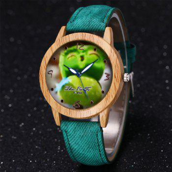 ZhouLianFa New Trend of Casual Cowboy Canvas Angry Birds Quartz Watch with Gift Box -  GREEN