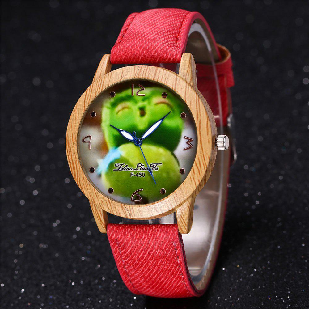 ZhouLianFa New Trend of Casual Cowboy Canvas Angry Birds Quartz Watch with Gift Box - RED